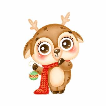 クリスマスツリーのおもちゃを保持している赤いスカーフを身に着けているかわいい漫画のクリスマス鹿のイラスト