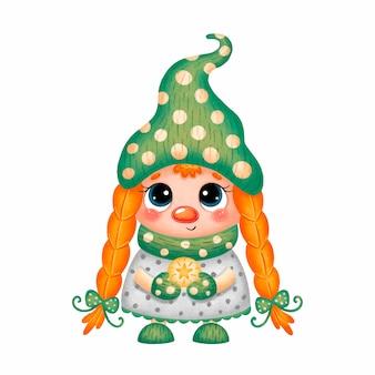 Иллюстрация милый мультфильм рождественский гном девушка