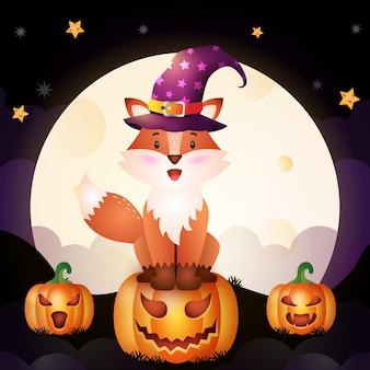 Иллюстрация милой мультяшной лисы на хэллоуин, стоящей на тыкве перед луной