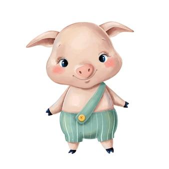 고립 된 녹색 바지에 귀여운 만화 돼지의 그림