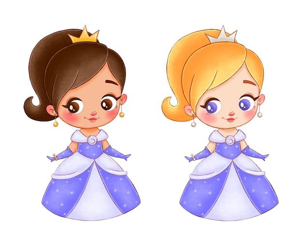 Иллюстрация милой мультяшной принцессы. чернокожая принцесса
