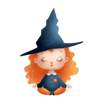 명상하는 귀여운 만화 마녀의 그림입니다. 할로윈 요가