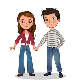 手をつないでかわいいカップルのイラスト