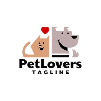 개 고양이 또는 애완 동물과 관련된 비즈니스 로고에 좋은 귀여운 강아지와 고양이의 그림