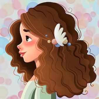 무성한 곱슬 머리를 가진 귀여운 소녀의 그림