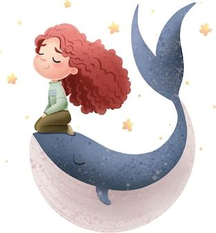 무성한 머리를 가진 귀여운 소녀의 그림은 별들 사이에서 고래에 앉는다.