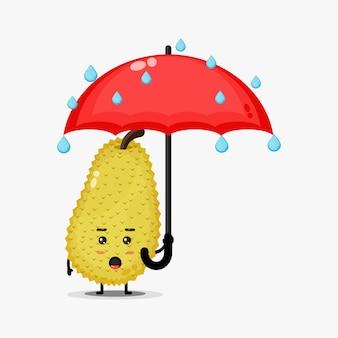 雨の中でかわいいパラミツマスコットのイラスト