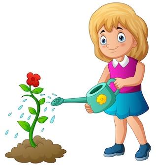 Иллюстрация милая маленькая девочка поливает цветок