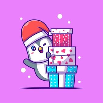 かわいいペンギンのイラストがクリスマスプレゼントに隠れています。メリークリスマス