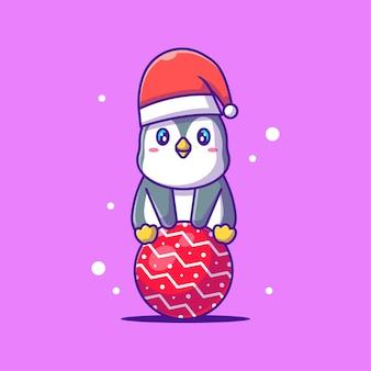 座っているかわいいペンギンのイラスト。メリークリスマス