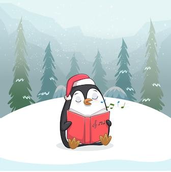 Иллюстрация милого пингвина, сидящего с книгой в руке Premium векторы