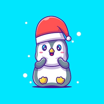 クリスマスの帽子と座っているかわいいペンギンのイラスト。メリークリスマス