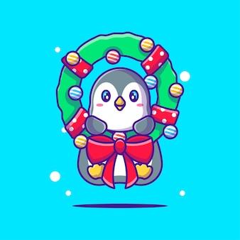 クリスマスの花輪とかわいいペンギンのイラスト。メリークリスマス
