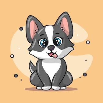 笑っているかわいい子犬のイラスト