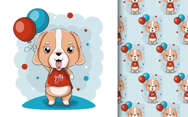 風船とかわいい子犬のイラスト。