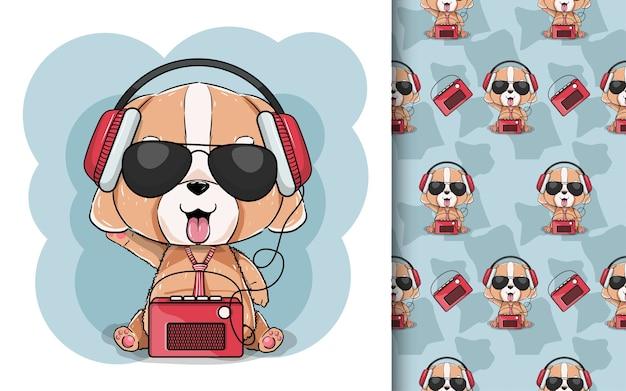 ヘッドフォンとラジオでかわいい子犬のイラスト。
