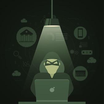 サイバーハッカーのイラスト、インターネットのサイバー攻撃、フィッシングと詐欺行為の概念、フィンテック(金融技術)の背景。