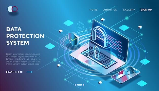 Иллюстрация системы безопасности данных в изометрической 3d иллюстрации