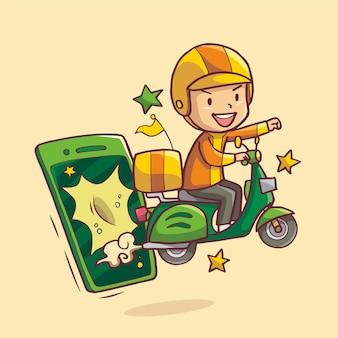 Иллюстрация курьера, появляющегося из мобильного телефона, отправляющего заказ на мотоцикле