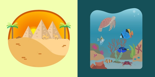 砂漠と海の風景のイラスト
