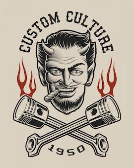 Иллюстрация дьявола со скрещенными поршнями в винтажном стиле. идеально подходит для дизайна футболки