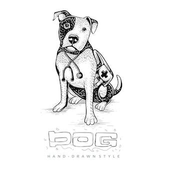医者としての犬のイラスト。手描き動物イラスト