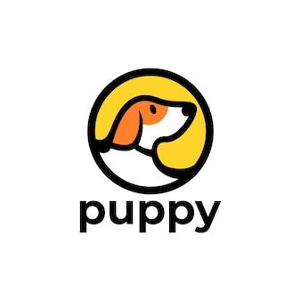 犬やペットに関連するビジネスロゴに適した円の中の犬のイラスト