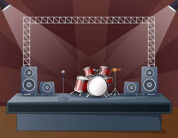 콘서트 무대에서 드럼의 그림