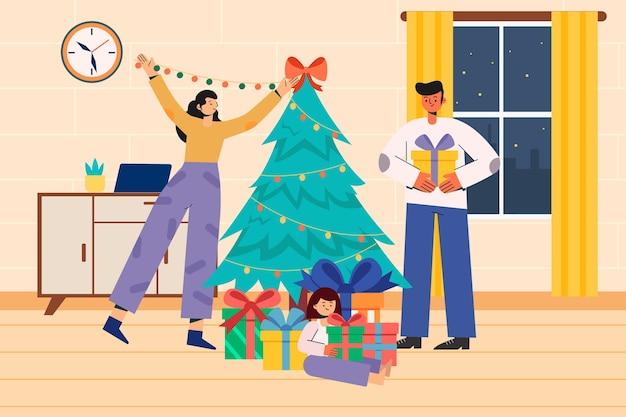 一緒にクリスマスを祝う家族のイラスト