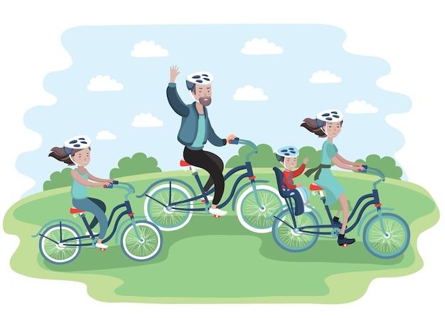 그들의 자전거를 타고가는 가족의 그림