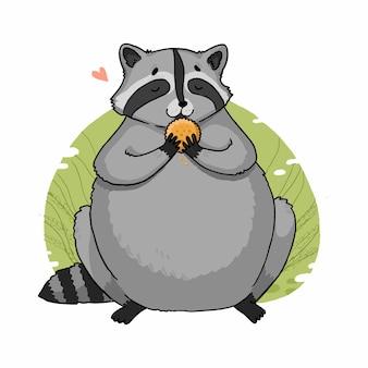 Иллюстрация толстого енота с печеньем-крекером