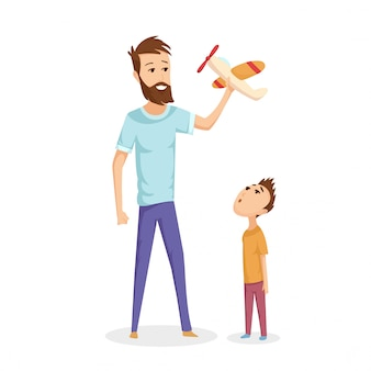 おもちゃの飛行機で遊ぶ父親と若い息子のイラスト
