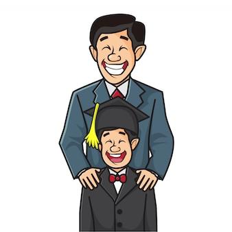 彼の卒業を祝っているので父親のイラストは幸せな彼の息子を抱いています