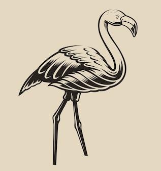 Иллюстрация фламинго. элемент для
