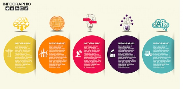 5 옵션의 평면 인포 그래픽 타임 라인의 그림.