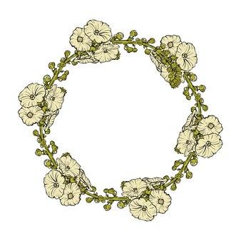 白い背景に花の花輪のイラスト