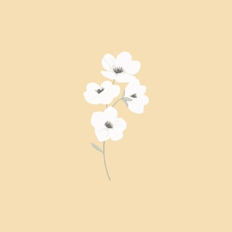 パステルカラーの花のイラスト。招待状、結婚式のグリーティングカード、お知らせの植物要素をデザインします。