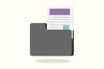 Illustration of a folder with document