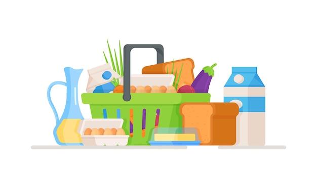 フードバスケットのイラスト店からの新鮮な食料品が入った隔離された箱野菜と緑が隔離されたバスケットスーパーマーケットでの買い物