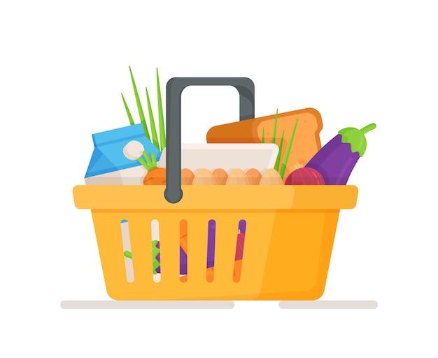 野菜、卵、牛乳が入ったフードバスケットのイラスト