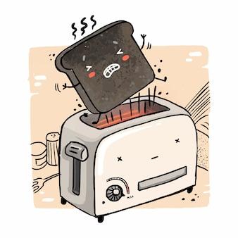 Иллюстрация смешного подгоревшего тоста, вылетающего из тостера