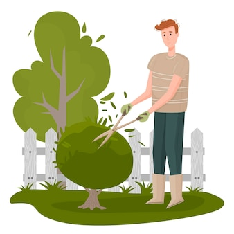 Иллюстрация садовника. персонаж мужского разнорабочего обрезает деревья и кусты изолированного пакета. благоустройство приусадебного участка, выращивание растений и питомников, озеленение.