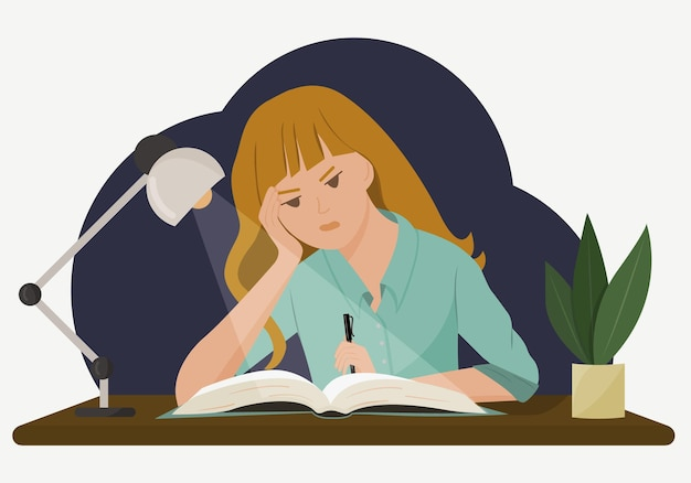 책상에서 여자의 그림입니다. 한 학생이 저녁 늦게까지 숙제를 합니다. 어렵고 불가능한 숙제의 개념.