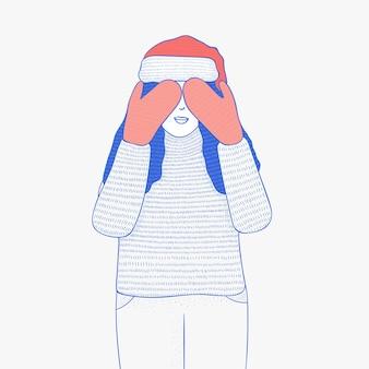그녀의 얼굴을 덮고 있는 소녀의 그림