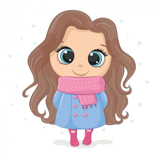Иллюстрация девушки в пальто и шарфе