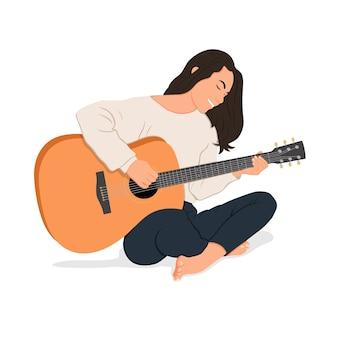 アコースティックギターを弾く少女のイラスト。フラットな漫画のスタイル。アコースティックレッスン。自宅での教育と勉強。趣味。