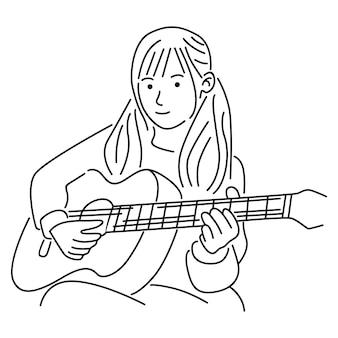 アコースティックギターを弾いている女の子のイラスト