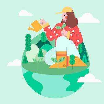 木を植える緑の地球に座っている女の子のイラスト