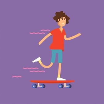 スケートボードに乗る女の子スケートボーダーのイラスト。都会の女性市民キャラクター。