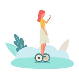 Иллюстрация девушки, которая катается на гироскопе и управляет им с помощью мобильного телефона